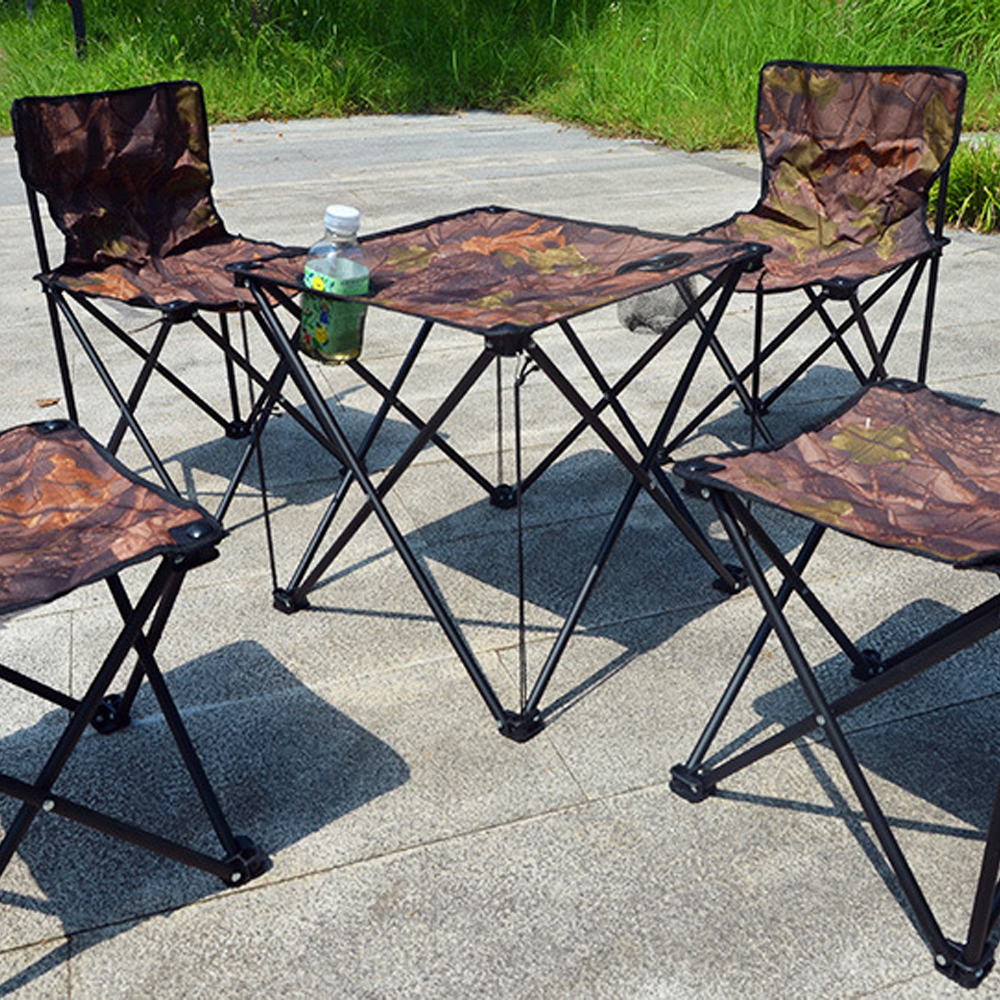 Outdoor portable folding table and chair combination set camouflage five-piece camping self-driving fishing leisure table chair