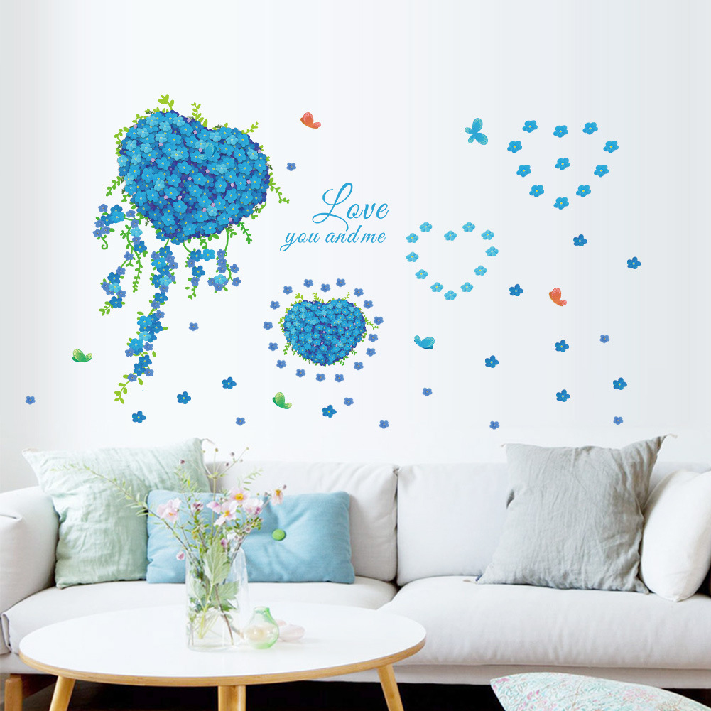 Blue Butterfly Love Flower Clover Backdrop Living Room Bedroom Decoration Stickers Pvc Wall