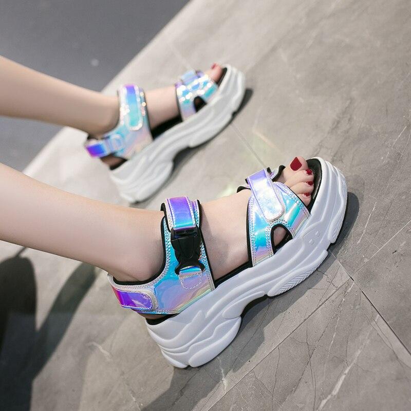 HTB1Lm ualiE3KVjSZFMq6zQhVXa5 Women Sandals 2019 New Summer Sandals Ladies Casual Shoes Women Bling Wedges Buckle Strap Platform Shoes 5 CM Sandalias Mujer