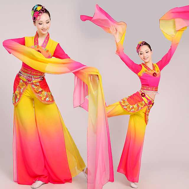 acb7cf632 2017 Chinese Water Sleeves Costumes Dunhuang Flying Classical Dance  Clothing Long Fan Poetry Fairy Costume Stage Performance
