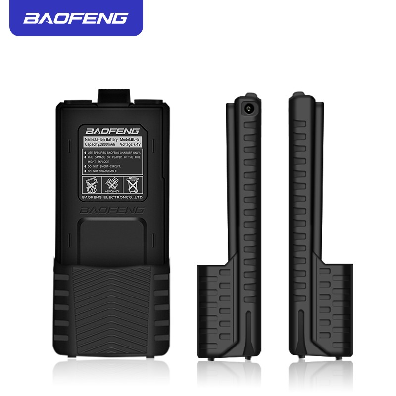 Baofeng UV5R Walkie Talkie Battery Extended 7.4V 3800mAh Li-ion BL-5 Battery Pack For Baofeng UV-5R UV-5RE Black
