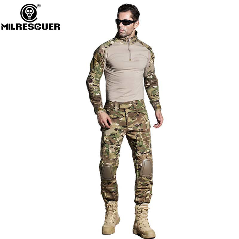 MILRESCUER Camouflage Tactical Military Uniform Multicam Army Combat Shirt Tactical Pants With Knee Pads Hunting Clothes tactical military uniform combat uniform tactical pants with knee pads camouflage suit army military cs shooting hunting clothes