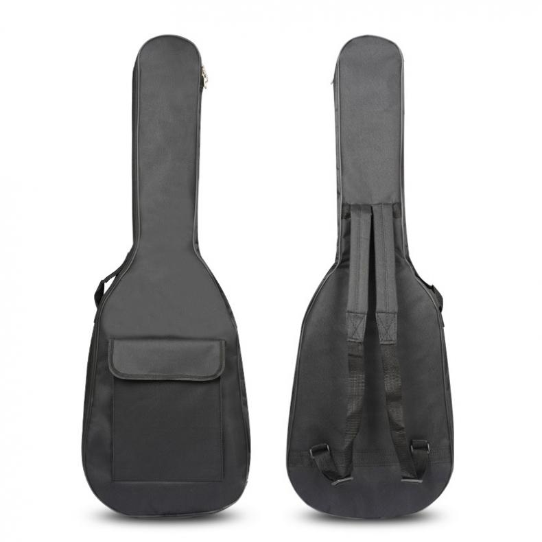 Black Waterproof Double Straps Bass Backpack Gig Bag Case for Electric Bass Guitar 5mm Thickness Sponge Padded