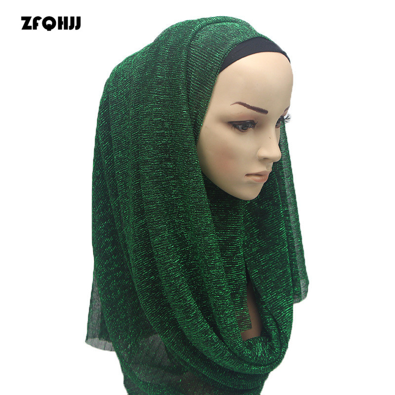 ZFQHJJ Muslim Headscarf 180*85cm Arabian Women Golden Polyester Hijabs Jersey Head Wraps Lady Turkish Party Wedding Hijab Scarf turban hijab