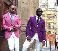 Maßgeschneiderte Pink Lila Bräutigame Smoking Für Männer Slim Fit 2 Stücke männer Hochzeit Prom Abendessen Anzüge Best Man Blazer Hosen