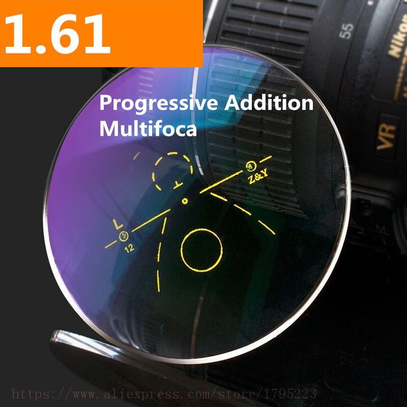 1.61 indice lentille Progressive lentille asphérique Anti-reflet lentille multi-focale HMC graduée Addition Progressive lentille varifocale 2 pièces