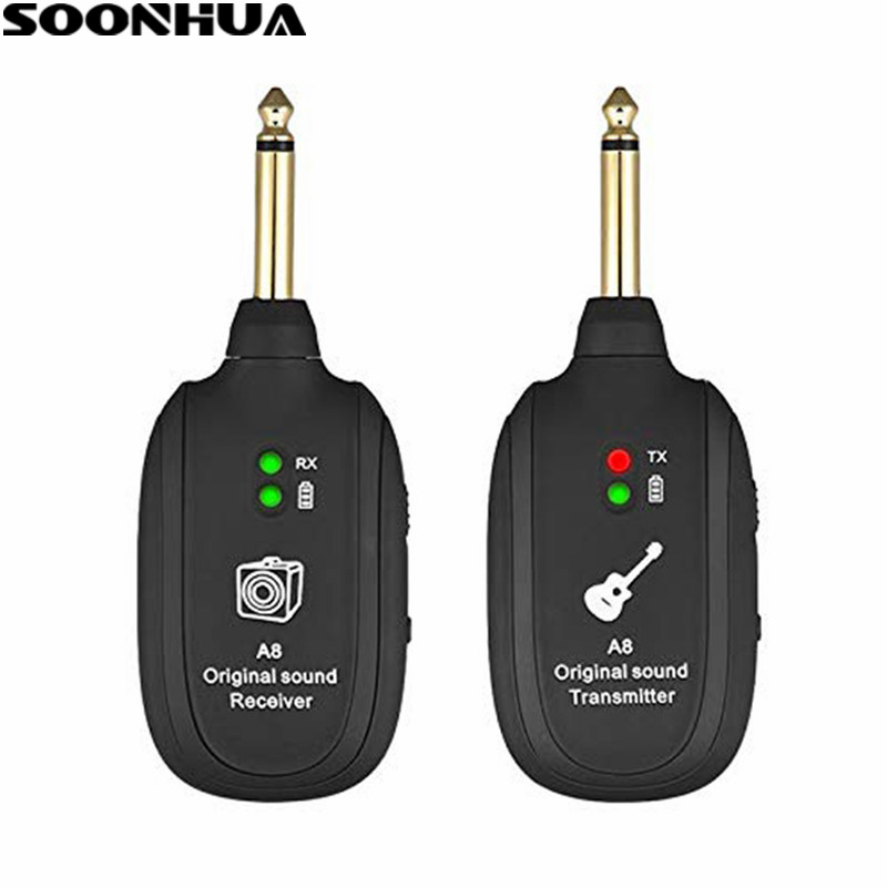 SOONHUA UHF Wireless Guitar Transmitter Receiver Set With Micro USB Charge Port Guitar Wireless Adapter for