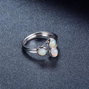 Image 5 - Женское кольцо с натуральным опалом HUTANG, обручальные Открытые Кольца из серебра 925 пробы, драгоценные камни, ювелирные изделия с 3 камнями, классический дизайн