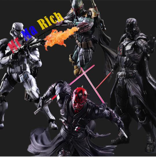 Star Wars Action Figure Play Arts Kai Boba Fett Darth Vader Stormtrooper Maul Model Toy Play Arts Star Wars Playarts Doll playarts kai star wars stormtrooper pvc action figure collectible model toy