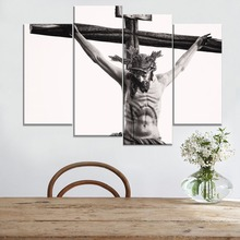 Christian Jesus Cross Painting 4 Piece Modular Style Religious Picture Canvas Print Type Modern Home Decor Wall Artwork Poster