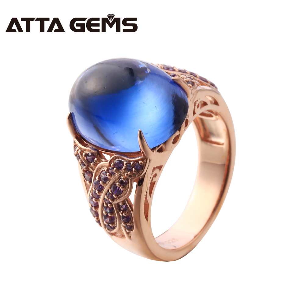 Blue Sapphire Sterling Silver 7.6 Carats Created Sapphire Cabochon Rose Gold Plated Ring For Women Fine Jewelry Wedding Party