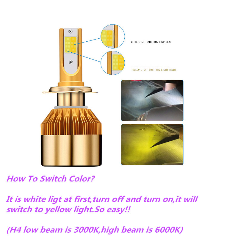 CROSSLEOPARD White Gold Color 12V 10000LM H4 H7 H1 H8 H9 H11 Led Car Headlight 3000K 6000K Dual Color Led Headlamp Auto Bulbs (1)