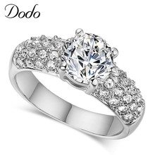DODO 585 White Gold Color Rings Women Wedding Aneis Accessories Bijoux Crystal Jewelry Anel Engagement Bague Anillos Gift DR24