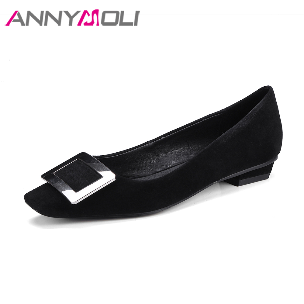 ANNYMOLI Real Leather Shoes 2018 Women Flats Boat Suede Leather Shoes Spring Slip On Square Toe Flats Black Shoes Female Flat hot sale 2016 new fashion spring women flats black shoes ladies pointed toe slip on flat women s shoes size 33 43