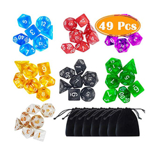 7 x 7 (49 Pieces) Polyhedral Dice with Pouches for Dungeons and Dragons DND RPG MTG D20 D12 D10 D8 D4
