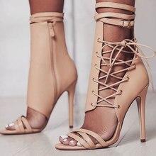 High Heel Sandal Celebrity Gladiator Lace Crisscross Fashion Woman Trending Shoes Super Star Up Hot