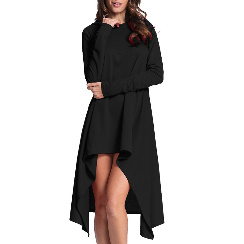 Autumn irregular robe sweatshirt hoodie dress women Solid Asymmetrical Long Sleeve Hooded 2017 Female Dresses S4