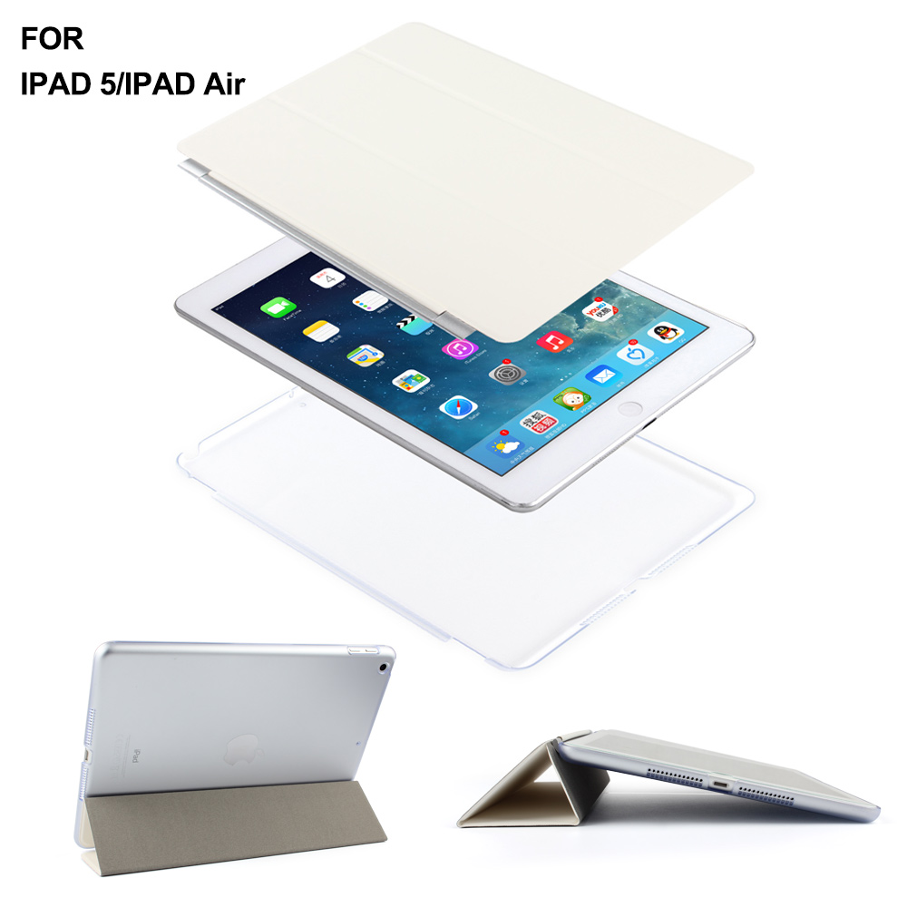 Batianda Smart Stand Case with Auto Sleep / Wake Function and Translucent Back Cover For iPad Air iPad 5 soft silicone tpu translucent back cover for ipad air 2 air2 trifold stand smart auto on off premium pu leather slim fit case
