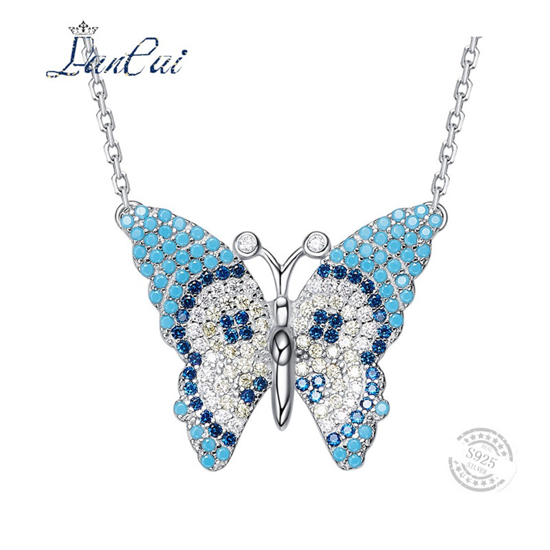 LANCAI Fashion Manual 925 Sterling Silver Necklace Butterfly Sweet Love Turquoise Pendant Necklace for Women Fine Jewelry Gift vintage faux turquoise leaf pendant necklace for women