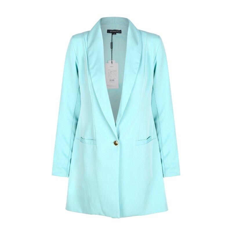 Womens Long Blazers Single Button Long Sleeve Power Shoulder Slim Casual Femme Mint Green Women Blazer Jackets Office Coat 2017