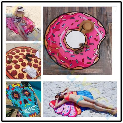 Beach Women Cover Up Bikini Sarong Wrap Fruit Doughnut Flower Printed Sarong Women Swimwear Swimsuit Bathing Suit Pareo