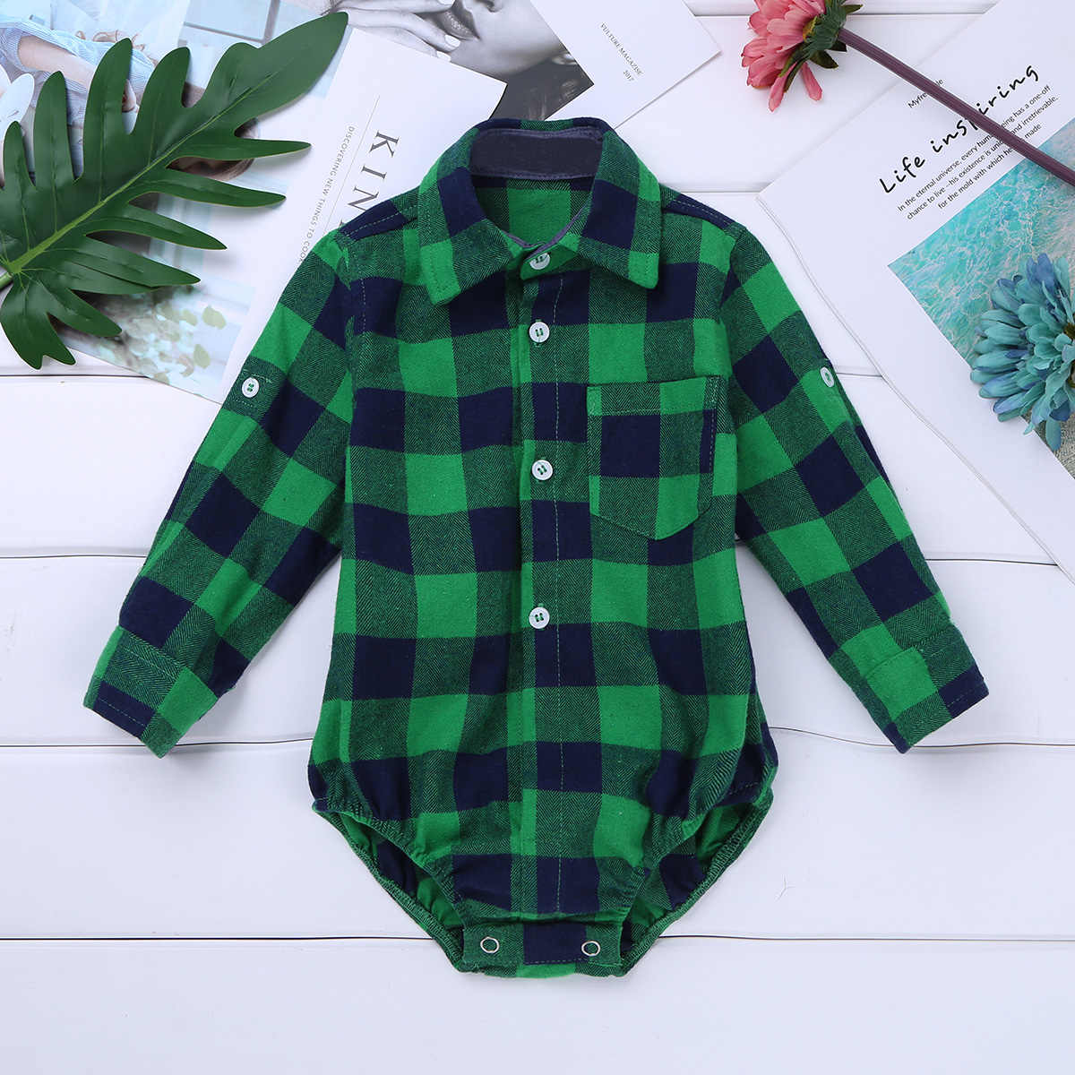 iiniim Baby Boy Bodysuit Long Sleeve Winter Infantil Bebe Boys Clothes Plaid Button-up Shirt Bodysuits for First Birthday Party