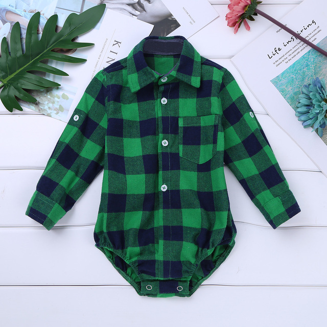 0193589a7 Baby Boy Clothes Bodysuit Long Sleeve Winter Infantil Bebe Boys Clothes  Plaid Button-up Shirt Bodysuits for First Birthday Party