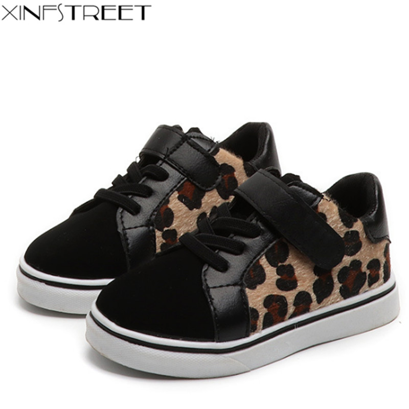 Xinfstreet Brand Kids Shoes For Girls Boys Leopard Children Sneakers School Shoes Size 26-36