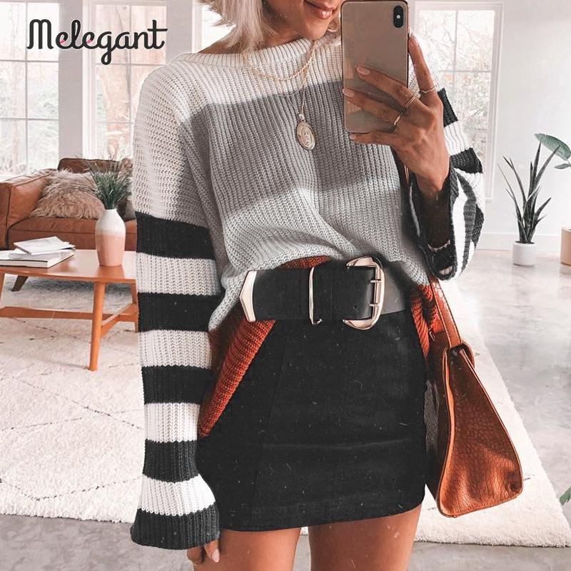 Melegant Women Sweaters Stripe Harajuku Winter 2019 Sweaters Jumper Pullovers Loose Knitwear Patchwork Sweater