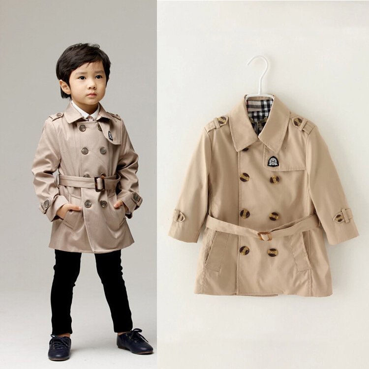 2019 Spring New Double-Breasted Children Long   Trench   Little Boys Windbreaker Baby Overcoat Wear Resistant Height 80-120cm