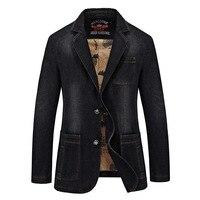 NIANJEEP Brand Denim Men Blazer Masculino Jacket Slim Fit Casual Autumn Winter Blazer Men Suit Fashion