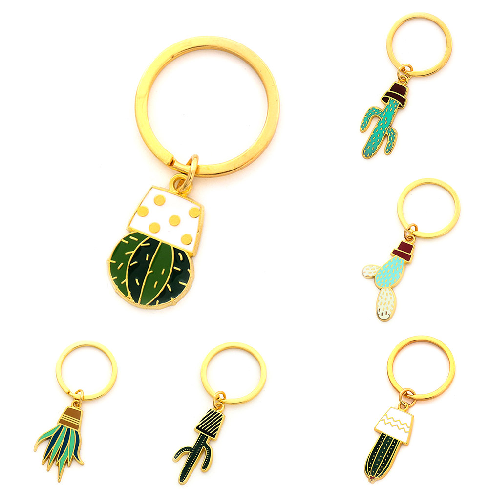 Cactus Keychains Women Succulent Potted succulent plants shaped Keychain Creative Car Key Holder Gift for friends