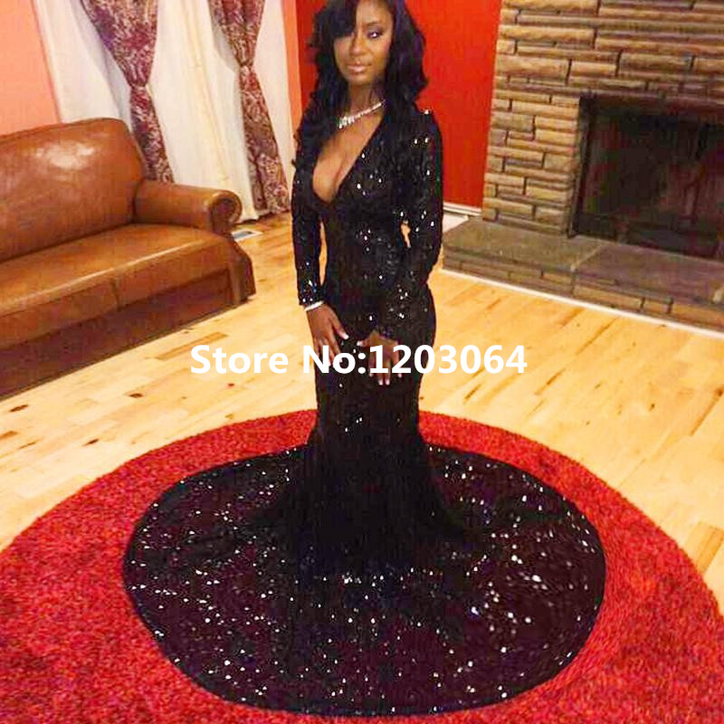 0118f354c97 New 2016 Sexy Deep V-Neck Lace Long Sleeve Evening Dress High Quality Black  Prom Dresses Unique Long Mermaid Vestidos Largos