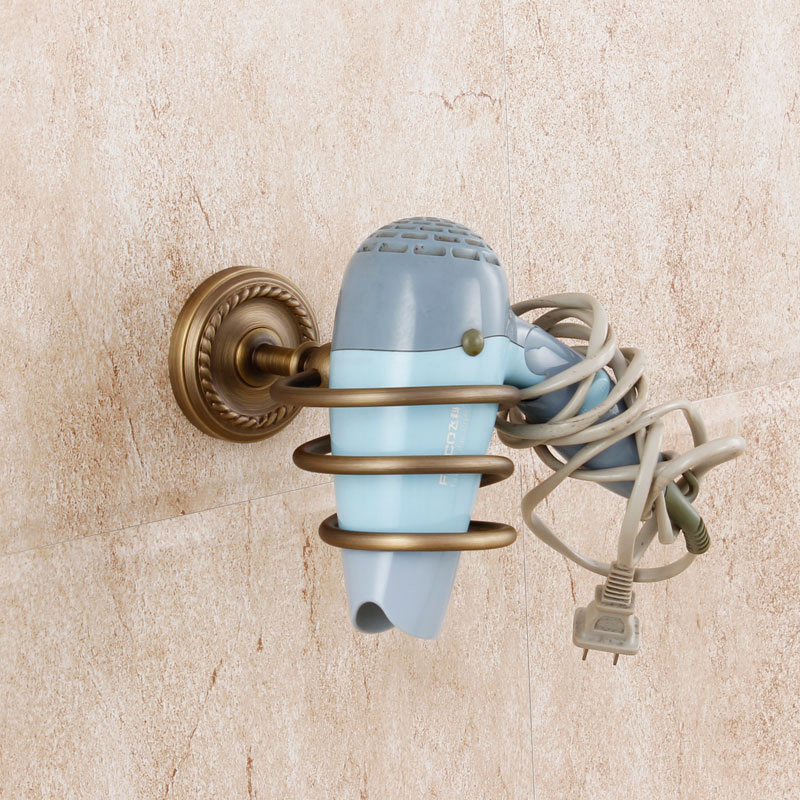 2015 Limited Prateleira Fashion Antique Copper Carved Hair Dryer Rack Bathroom Hardware American Wall Storage Cylinder Shelf image