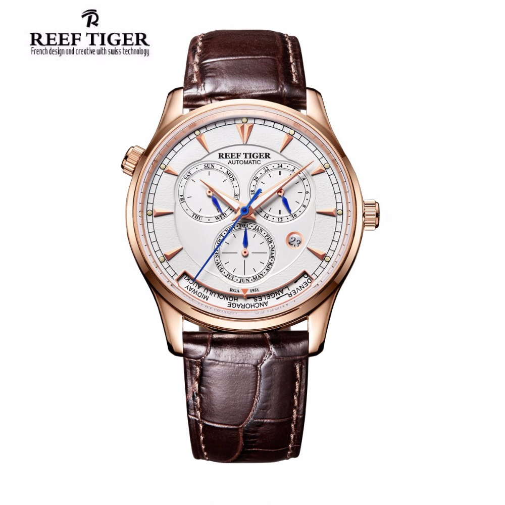 Reef Tiger Luxury Brand Fashion Mens Automatic World Time Watches Date Day Month Rose Gold Leather Strap Watch Relogio Masculino вьетнамки reef day prints palm real teal