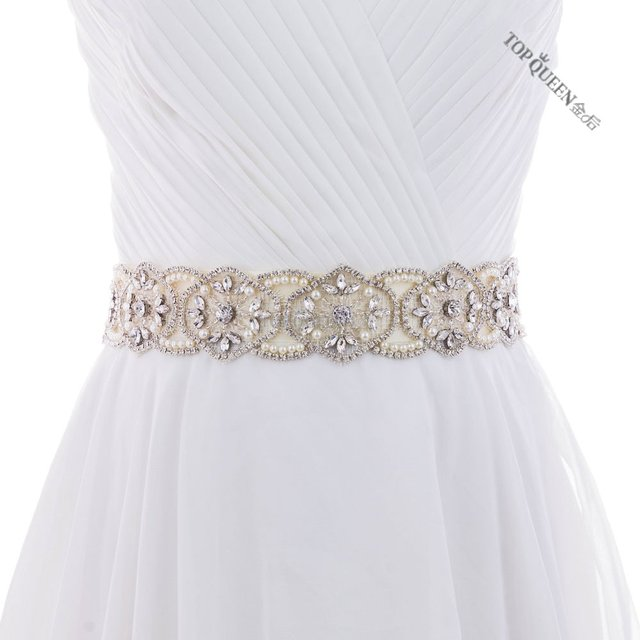 TOPQUEEN S296 Crystal Rhinestones Bride Evening Party Gown Dresses Accessories Wedding Sashes Belt/Waistband Bridal Belts Sashes