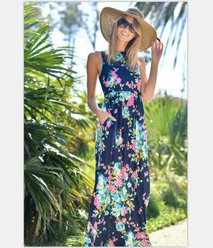 Kwiatowy kwiat wydruku matka córka sukienki matka i dzieci jednakowe stroje rodzinne 2020 nowych moda 2 kolor długa sukienka boho tanie i dobre opinie Suknie Poliester Floral Bez rękawów Pasuje prawda na wymiar weź swój normalny rozmiar YingYuanFang Europe and the United States