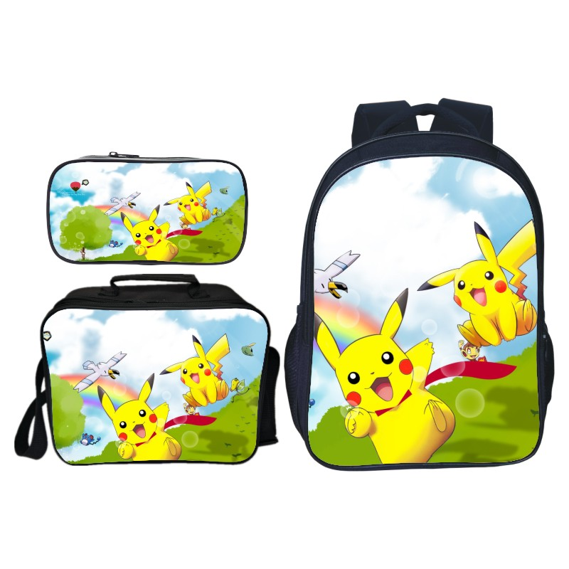 3pcs/set Cute Cartoon Printing Pikachu Kids Baby School Bags Pokemon Children Backpacks for Girls Suit Bookbag Boys Schoolbag цены