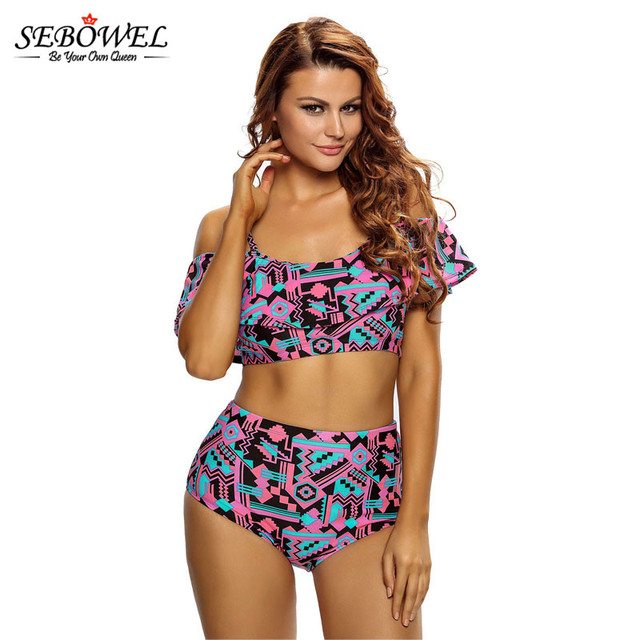 65572a83ec5 SEBOWEL Sexy Abstract Geometry Print Ruffle 2 pcs Swimsuit Plus Size Women High  Waisted Bathing Suits in Bikini Set Two Pieces