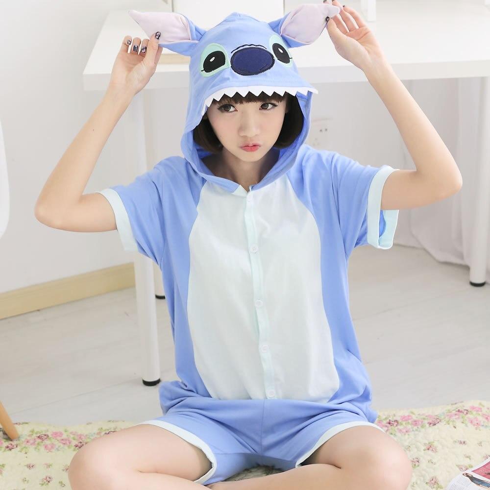 Kigurumi Onesie Unisex Voksen Blå Sting Pyjamas Kostyme Dyr Cosplay Dyr Kort ermet Sting Cartoon Onesie Nattøy