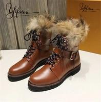 YIFSION/новые женские ботильоны на меху из натуральной кожи черного и коричневого цвета, женские зимние ботинки с круглым носком, на шнуровке, н
