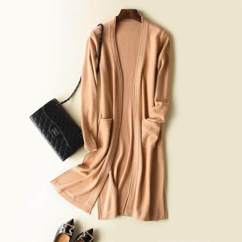 Femmes Cardigans 100% Pur Cachemire Tricots Femmes Pullovers Vneck Tricot Vestes Femme Pull Dames Point Ouvert vêtements