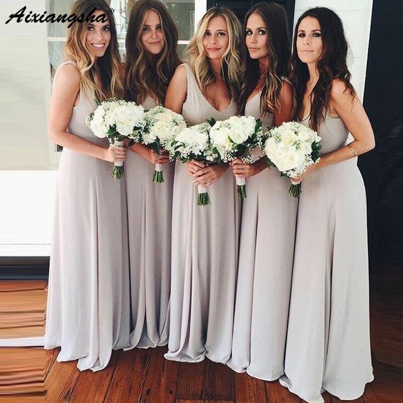 Elegant Silver Long   Bridesmaid     Dress   2019 V-Neck Floor Length A-line Chiffon Wedding Guest   Dress   vestidos de fiesta de noche