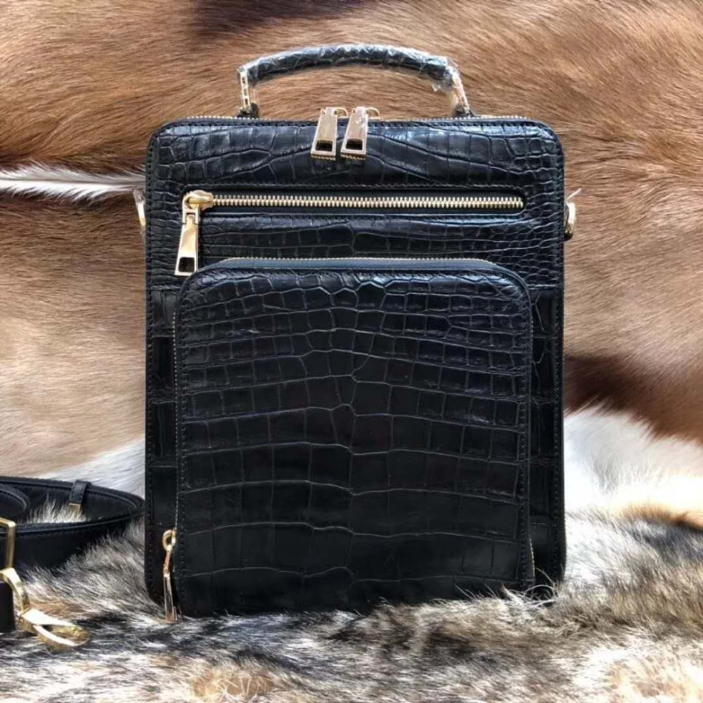 2018 Fashion Men's Genuine/Real 100% crocodile leathe belly skin men business bag with leather strap official men bag small size