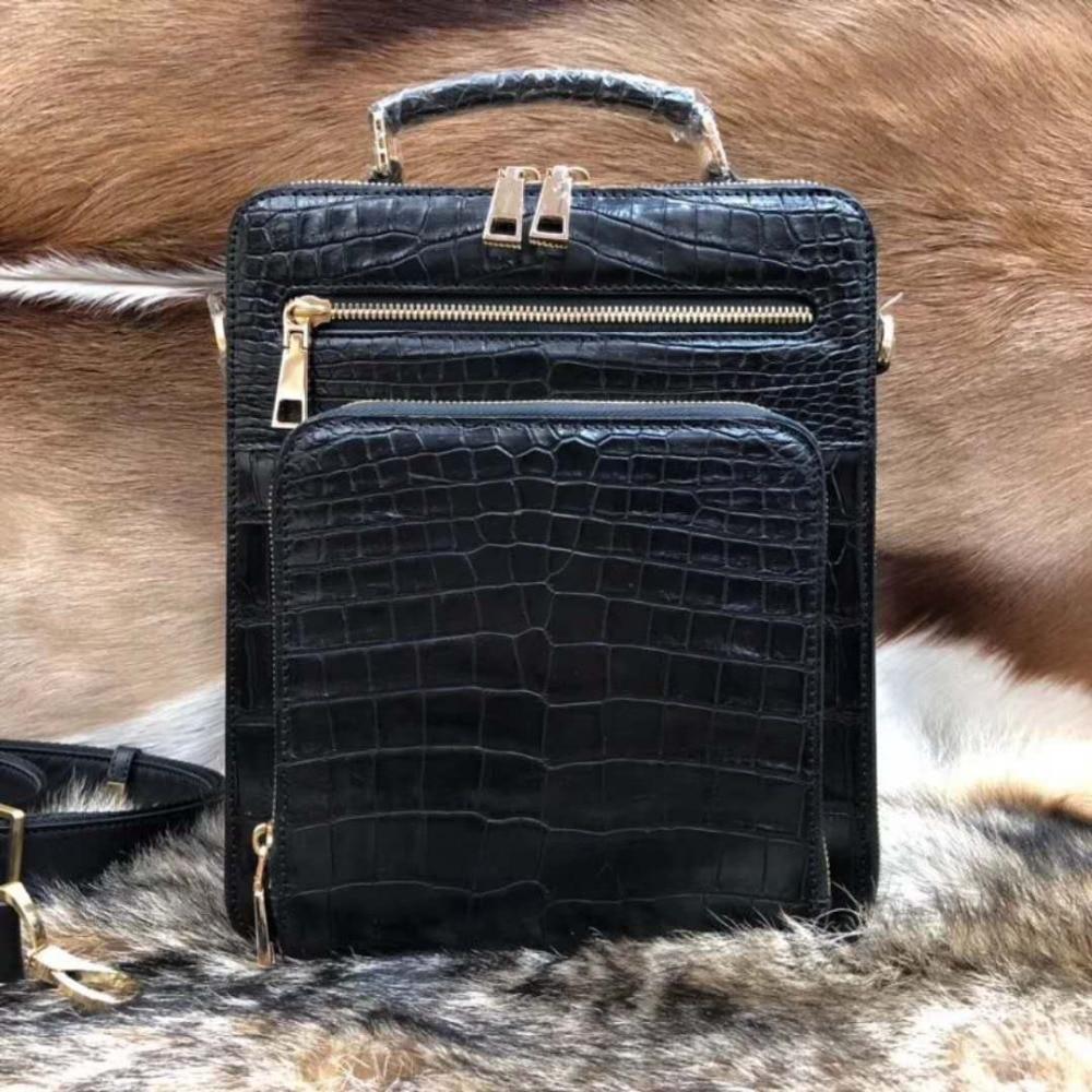 2018 Mode Männer Echte/echt 100% Krokodil Leathe Bauch Haut Männer Business Tasche Mit Lederband Offizielle Männer Tasche Kleine Größe