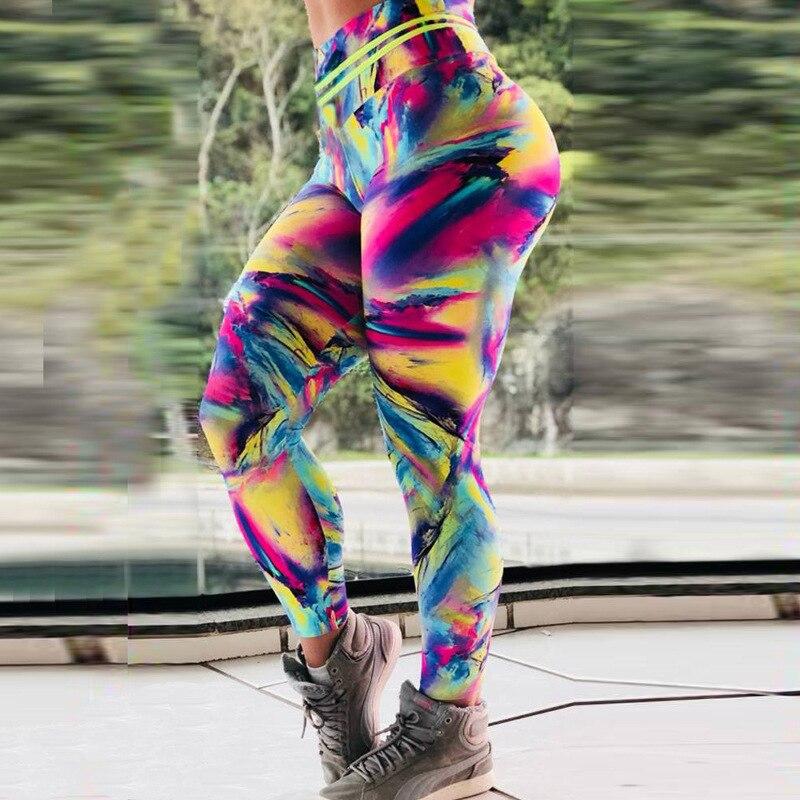 2019 rainbow Women Print Leggings Elastic High Waist Workout Fitness Leggings Female Breathable Slim Pants Hot Sale Leggins in Leggings from Women 39 s Clothing