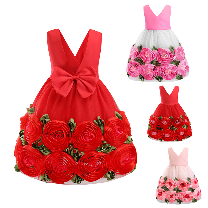 Sexy V-Neck Tutu Dress Girl Flower Girl Wedding Dress Backless Bow Baby Birthday Party Prom Evening Dress Elegant Summer 2019