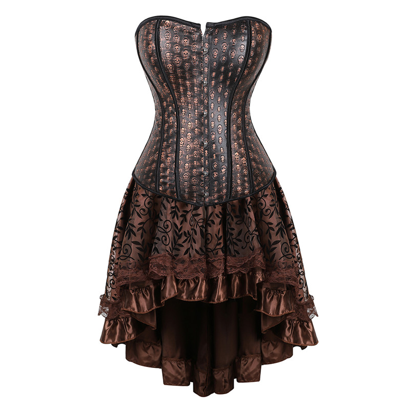 <font><b>Sexy</b></font> Steampunk Corset with Dress Skull Print Waist Trainer Corsets and Bustiers Skirt <font><b>Halloween</b></font> Cosplay <font><b>Costume</b></font> <font><b>for</b></font> <font><b>Women</b></font> Plus image