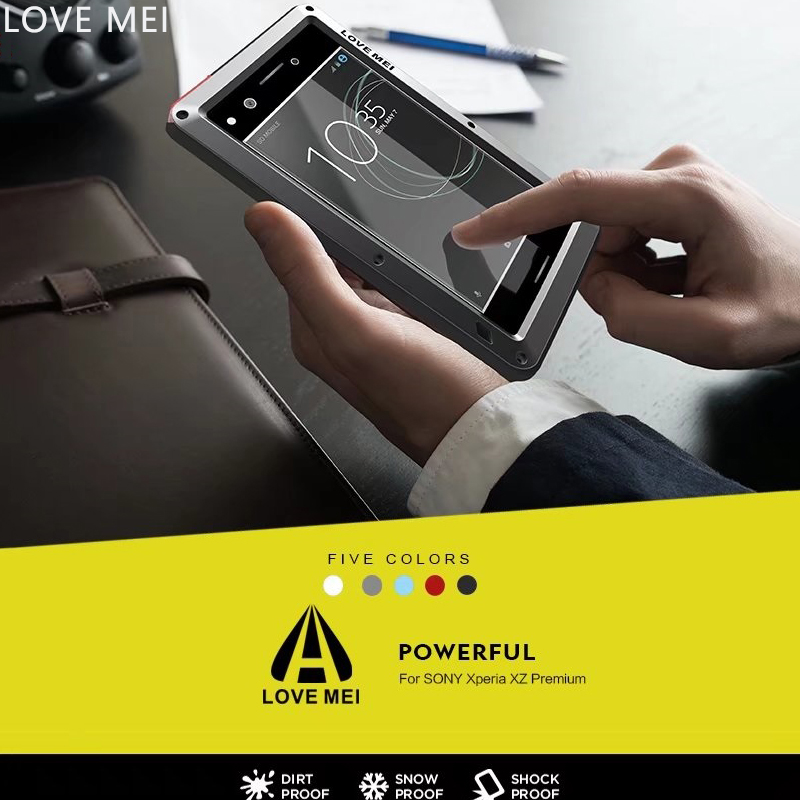 LOVE MEI For <font><b>Sony</b></font> Xperia XA1 Case Luxury Hard Metal Aluminum Silicone Glass Shockproof Phone Case for <font><b>Sony</b></font> <font><b>XZ</b></font> Premium Case Cover
