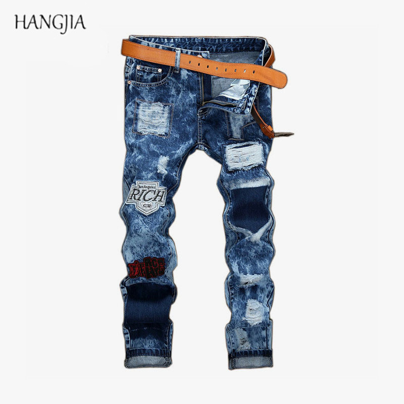 Badges Male Hole Patchwork Slim Ripped Jeans Europe and the United States Straight Street Youth Casual Snow Denim Pants